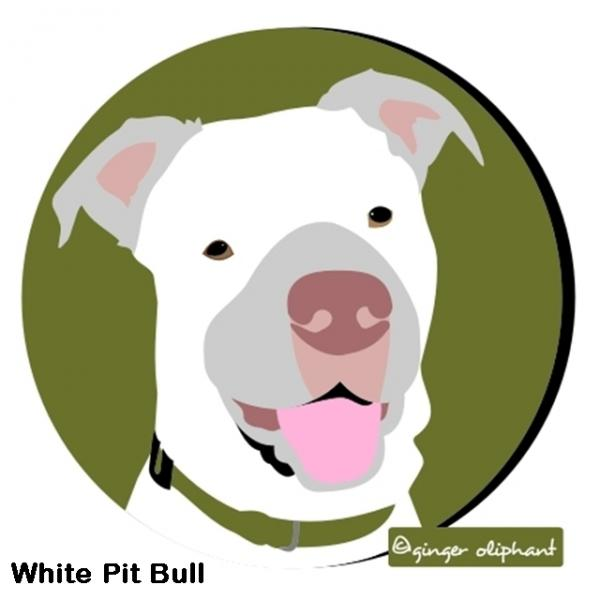 White Pit Bull Mouse Pad